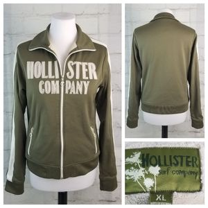 Hollister XL Army Green Plush Lined Warmup Jacket